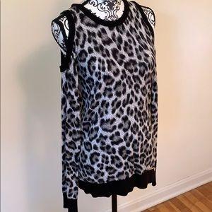 Michael Kors Leopard Cold Shoulder Top